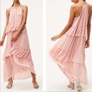 LOFT Tiered Ruffle Maxi Dress Pink M
